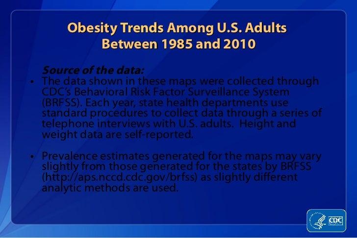 Obesity  Trends  Among U.S. Adults  Between 1985 and 2010 <ul><li>Source of the data: </li></ul><ul><li>The data shown in ...