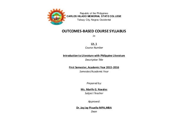 Republic of the Philippines CARLOS HILADO MEMORIAL STATE COLLEGE Talisay City, Negros Occidental OUTCOMES-BASED COURSE SYL...