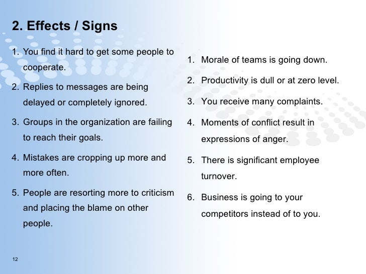 2. Effects / Signs <ul><li>You find it hard to get some people to cooperate. </li></ul><ul><li>Replies to messages are bei...