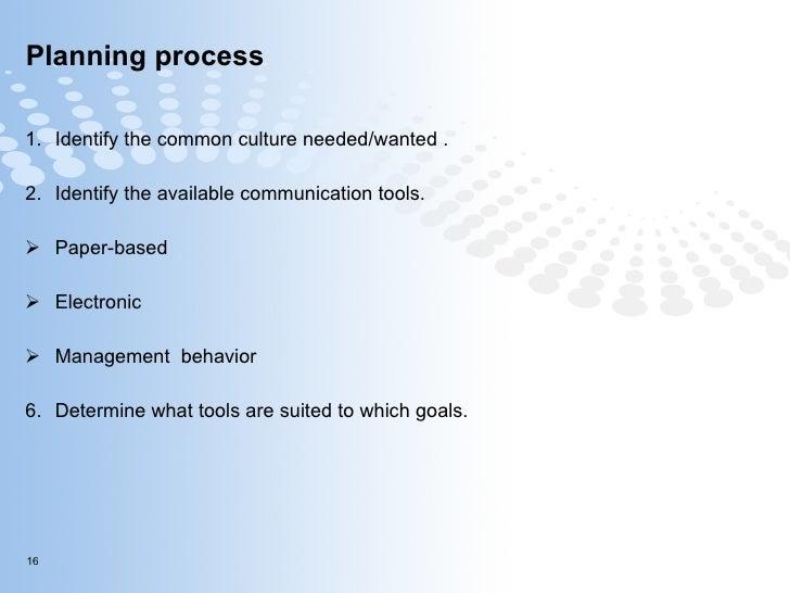 Planning process <ul><li>Identify the common culture needed/wanted. </li></ul><ul><li>Identify the available communicatio...
