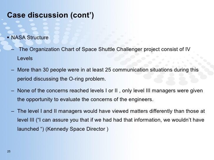 Case discussion (cont') <ul><li>NASA Structure </li></ul><ul><ul><li>The Organization Chart of Space Shuttle Challenger pr...