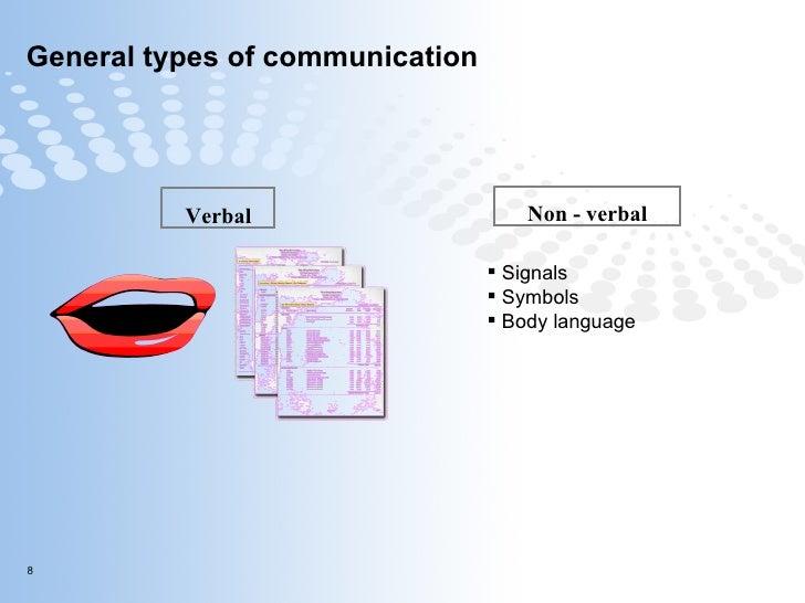 General types of communication  Verbal Non - verbal <ul><li>Signals </li></ul><ul><li>Symbols </li></ul><ul><li>Body langu...