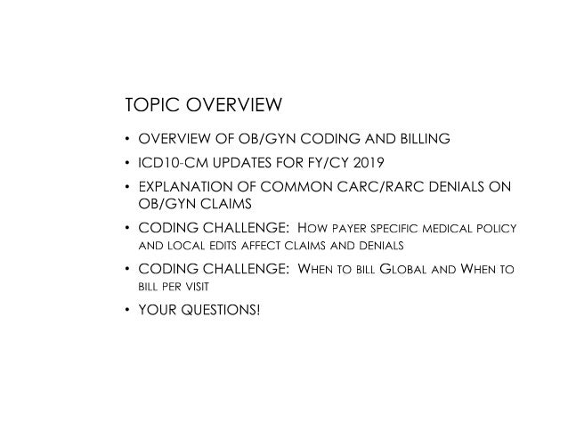 Ob gyn coding challenges and update handouts