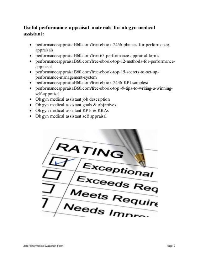 ... Ob Gyn Medical Assistant Performance Appraisal; 2. Job Performance  Evaluation ... Good Ideas