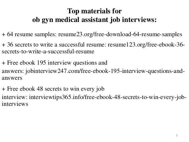 2 3 Top Materials For Ob Gyn Medical Assistant Job Interviews 64 Resume