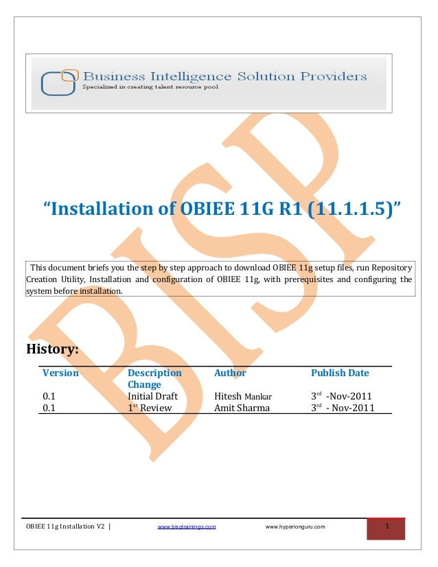 """""""Installation of OBIEE 11G R1 (11.1.1.5)"""" This document briefs you the step by step approach to download OBIEE 11g setup f..."""