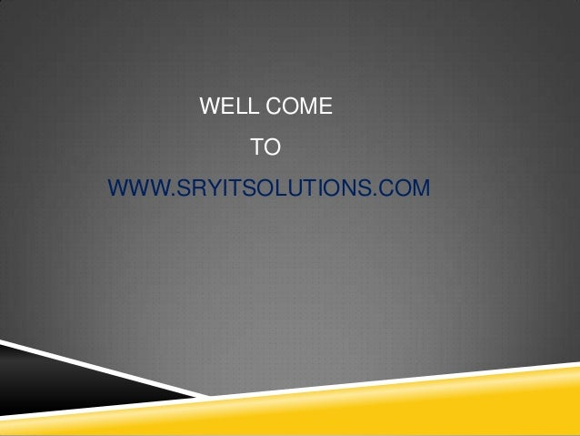 WELL COME TO WWW.SRYITSOLUTIONS.COM