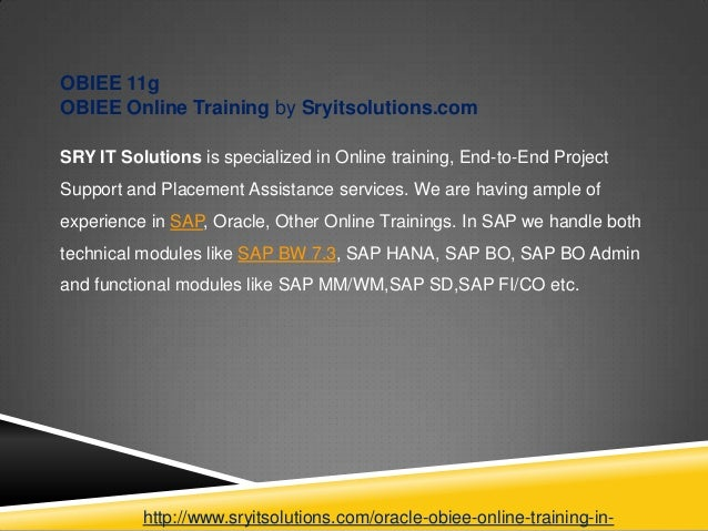 Obiee Material Oracle Obiee Online Training In Hyderabad