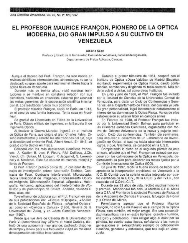 Obituario Maurice Françon, pionero de la Óptica  Moderna y Venezuela