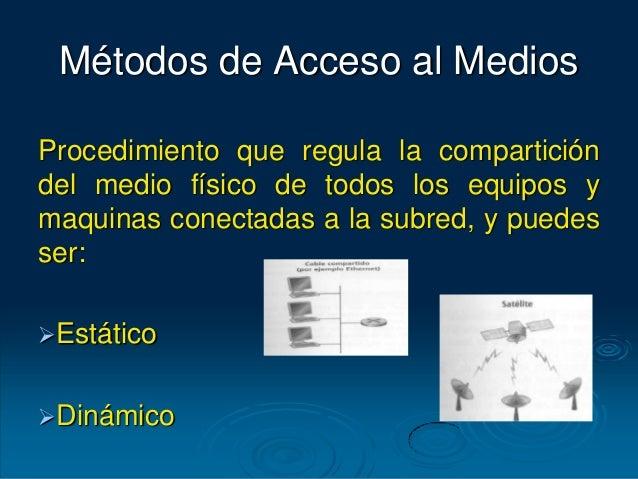 Métodos de Acceso al Medios Procedimiento que regula la compartición del medio físico de todos los equipos y maquinas cone...