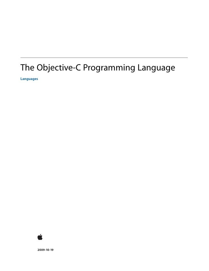 The Objective-C Programming LanguageLanguages        2009-10-19