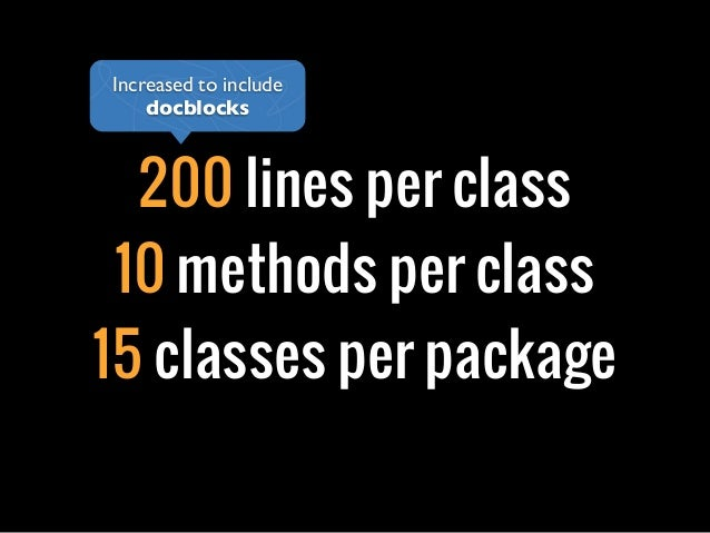 200 lines per class10 methods per class15 classes per packageIncreased to includedocblocks