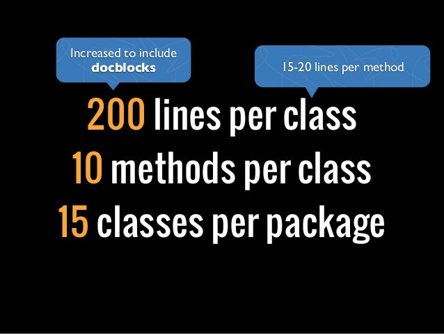 200 lines per class10 methods per class15 classes per package15-20 lines per methodIncreased to includedocblocks
