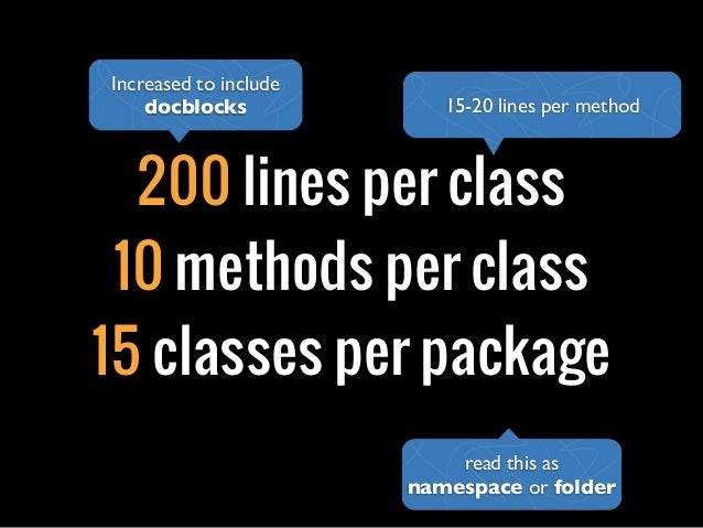 200 lines per class10 methods per class15 classes per package15-20 lines per methodIncreased to includedocblocksread this ...