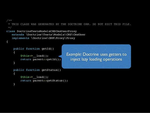 /*** THIS CLASS WAS GENERATED BY THE DOCTRINE ORM. DO NOT EDIT THIS FILE.*/class DoctrineTestsModelsCMSCmsUserProxyextends...