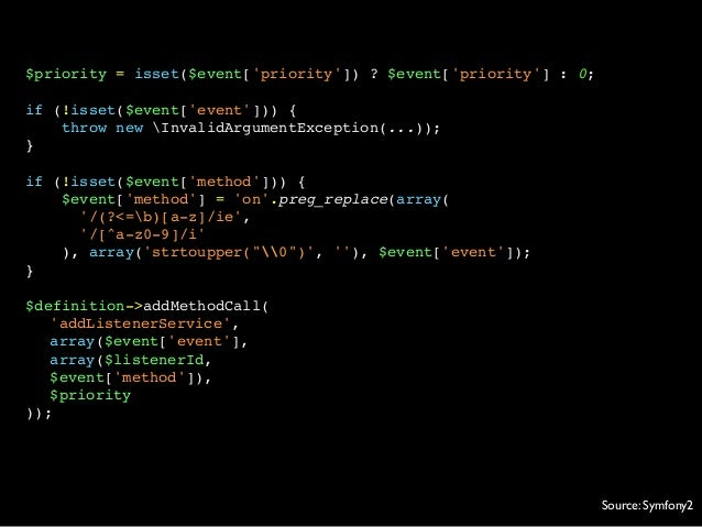 $priority = isset($event[priority]) ? $event[priority] : 0;if (!isset($event[event])) {throw new InvalidArgumentException(...