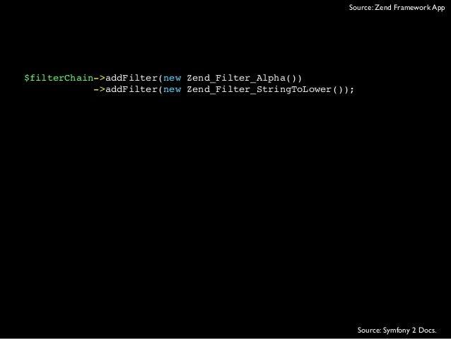 $filterChain->addFilter(new Zend_Filter_Alpha())->addFilter(new Zend_Filter_StringToLower());Source: Zend Framework AppSou...