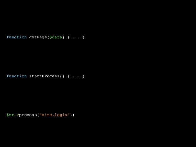 "function getPage($data) { ... }function startProcess() { ... }$tr->process(""site.login"");"