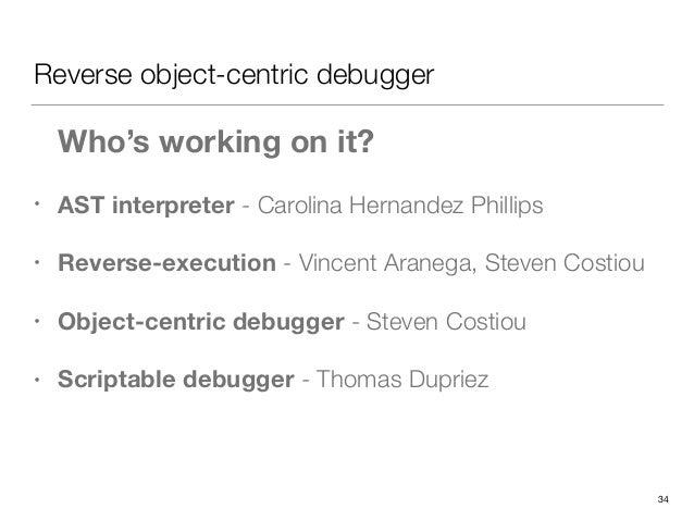 Reverse object-centric debugger • AST interpreter - Carolina Hernandez Phillips • Reverse-execution - Vincent Aranega, Ste...