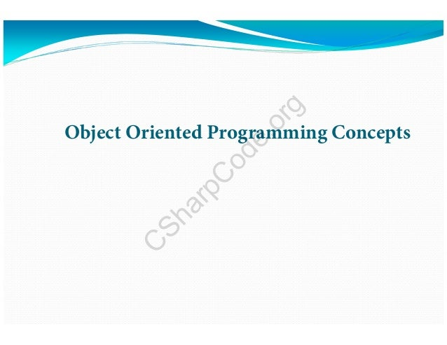 Object Oriented Programming Concepts C SharpC ode.org