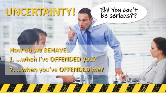 UNCERTAINTY! Eh! You can't be serious?? 1. …when I've OFFENDED you? 2. …when you've OFFENDED me? How do we BEHAVE…