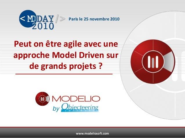 www.modeliosoft.comwww.modeliosoft.com Peut on être agile avec une approche Model Driven sur de grands projets ? Paris le ...