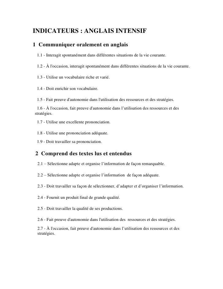 INDICATEURS: ANGLAIS INTENSIF1 Communiquer oralement en anglais    1.1 - Interagit spontanément dans différentes situat...