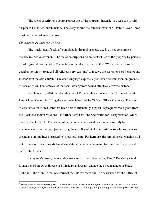 Objection to Archdiocese of Philadelphia Petition for Cy Pres - St. Peter Claver Catholic Church Slide 3