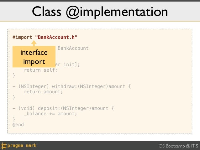 """Class @implementation#import """"BankAccount.h""""@implementation BankAccount     interface-   (id) init {      import[super    ..."""