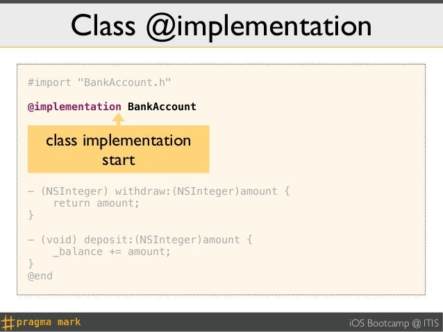 """Class @implementation#import """"BankAccount.h""""@implementation BankAccount- (id) init {  class implementation    self = [supe..."""