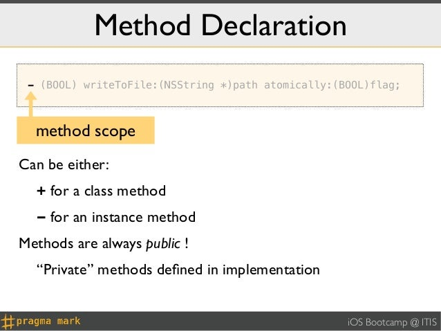 Method Declaration - (BOOL) writeToFile:(NSString *)path atomically:(BOOL)flag;  method scopeCan be either:  + for a class...