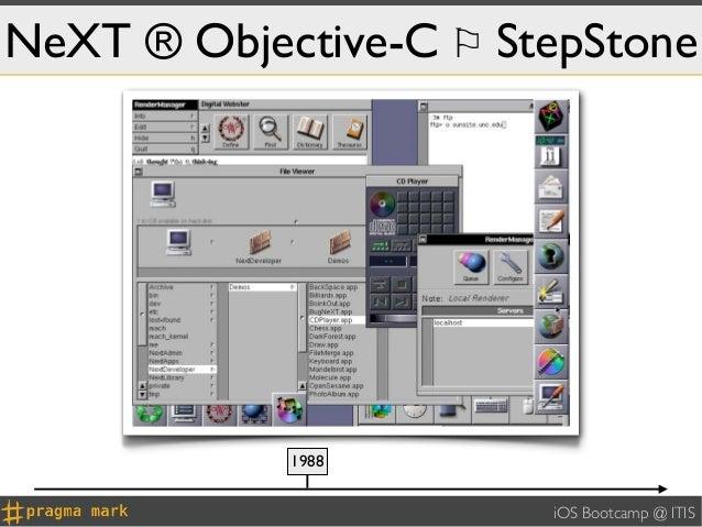 NeXT ® Objective-C ⚐ StepStone            1988                       iOS Bootcamp @ ITIS