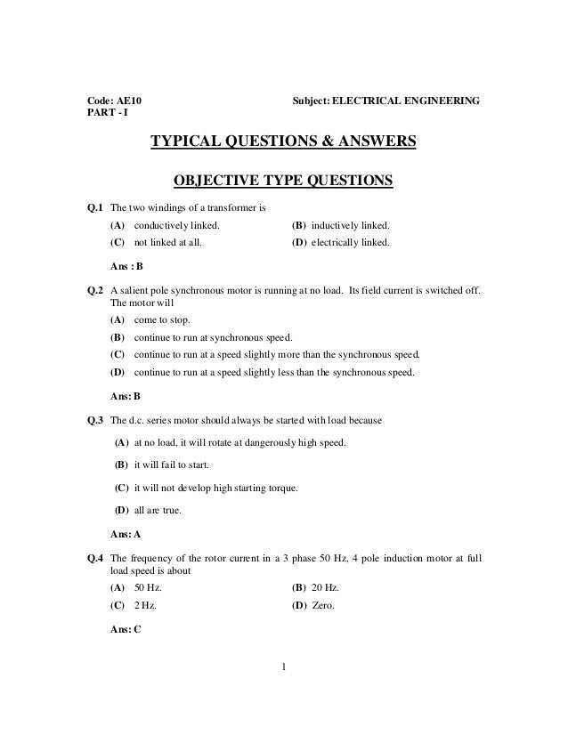 objective electrical electronics engineering questions  answers