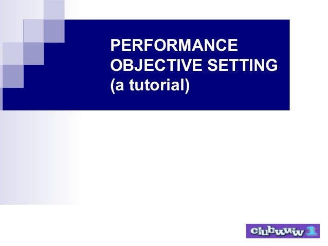 PERFORMANCE OBJECTIVE SETTING (a tutorial)