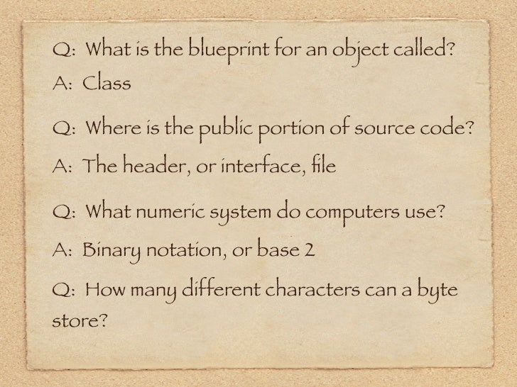Objective c review or base 2 8 q what is the blueprint for an object called malvernweather Images
