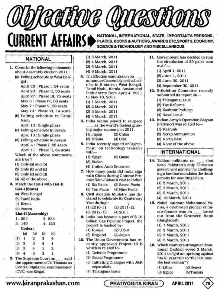Objective current affairs april 2011