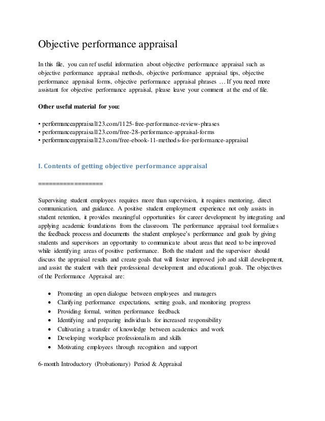 Objective performance appraisal In this file, you can ref useful information about objective performance appraisal such as...
