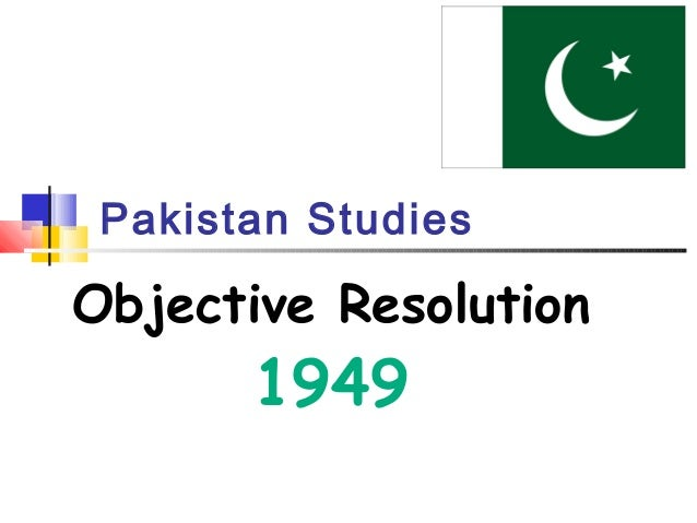 Pakistan Studies Objective Resolution 1949