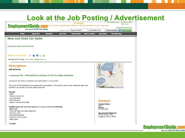 Look At The Job Posting / Advertisement ...