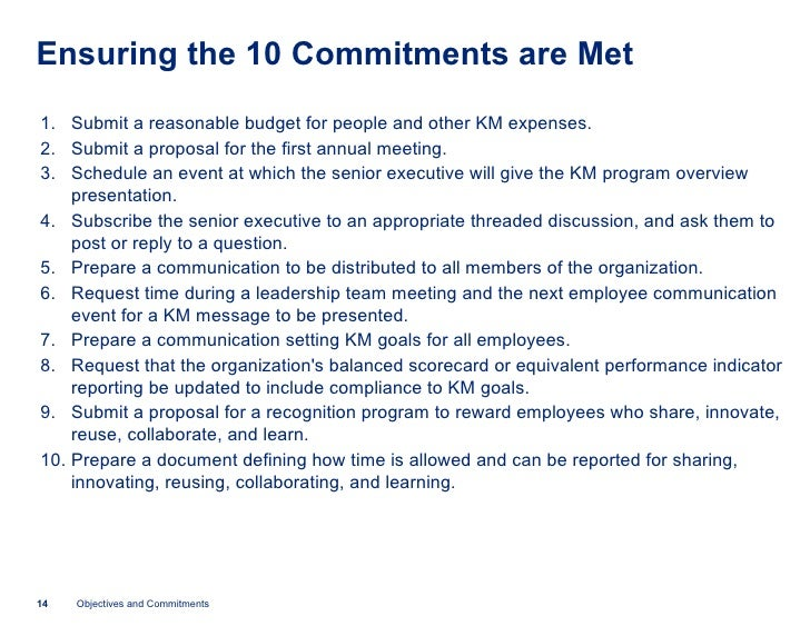 Identifying Objectives And Obtaining Executive Commitment For A Km Pr