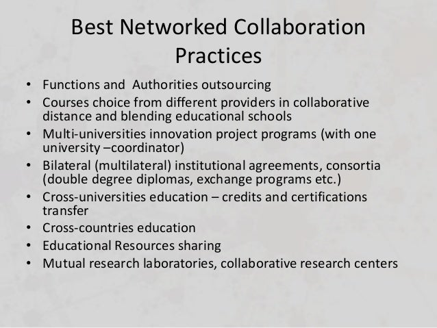 Collaborative Teaching Best Practices : Objectives and goals of networked collaboration