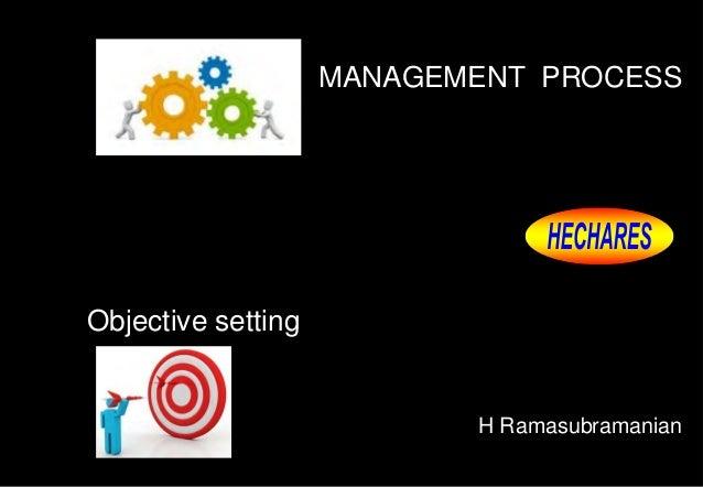 MANAGEMENT PROCESS H Ramasubramanian Objective setting