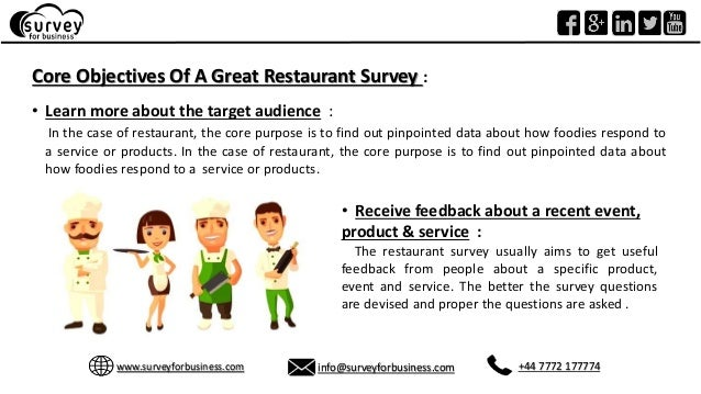 objectives of a great inceptive restaurant survey