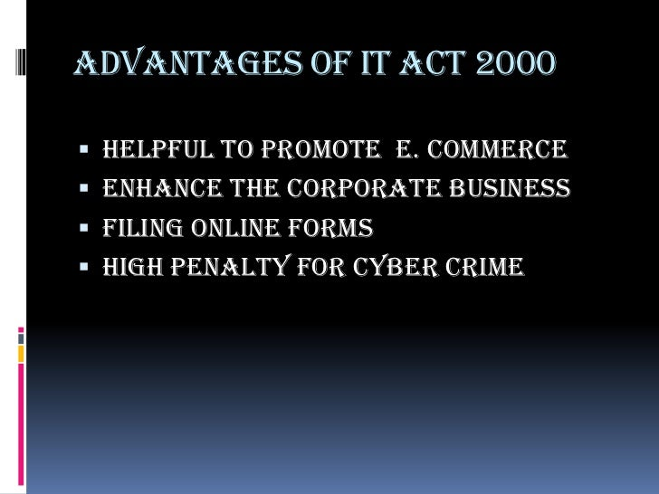 Objectives of it act 2000