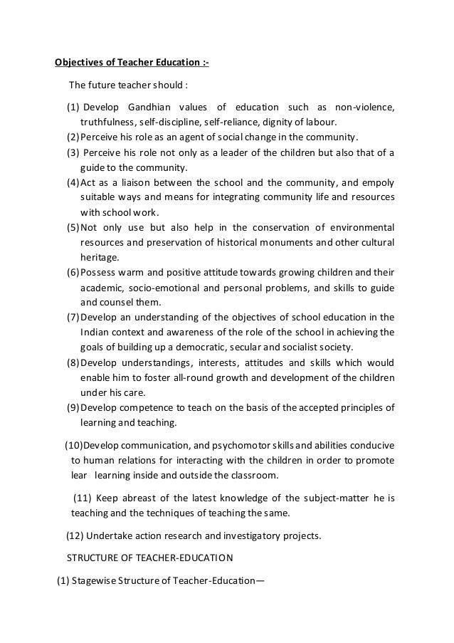 Objectives Of Teacher Education