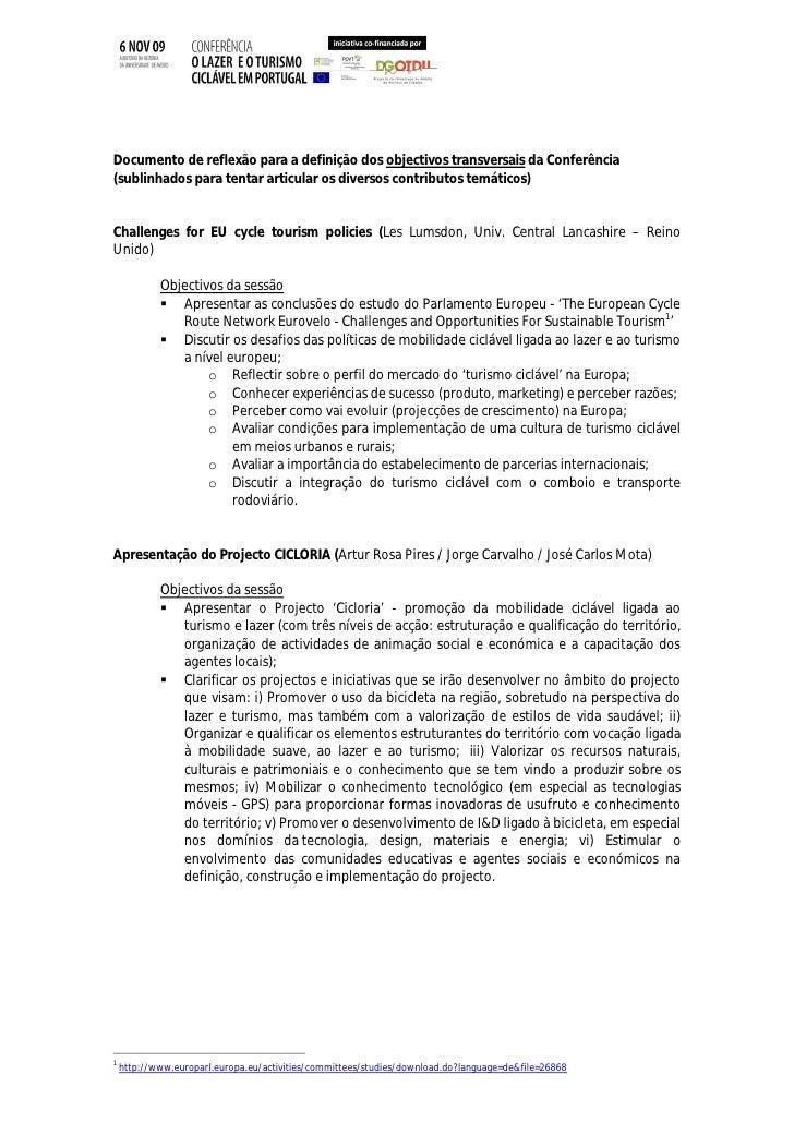 Documento de reflexão para a definição dos objectivos transversais da Conferência (sublinhados para tentar articular os di...