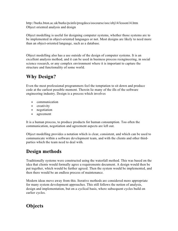 http://burks.bton.ac.uk/burks/pcinfo/progdocs/oocourse/ooc/obj14/lesson14.htm Object oriented analysis and design  Object ...