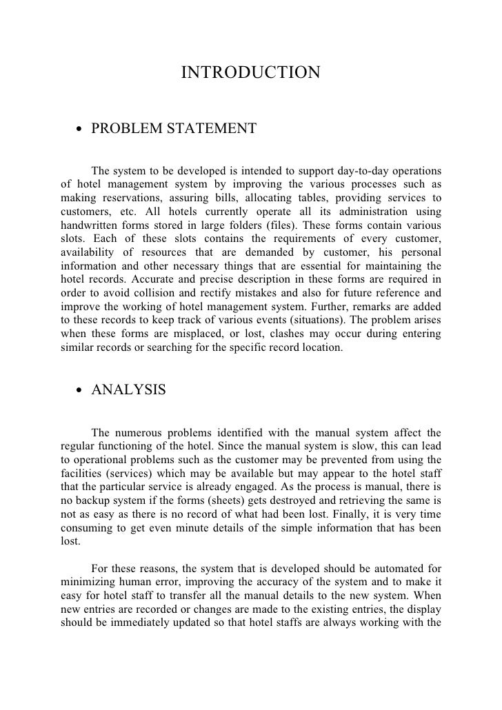problem statement for reservation system and billing system Page | 1 system requirements specifications for the project inventory control system for calculation and ordering of available and processed resources.