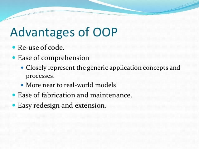 object oriented selection advantages