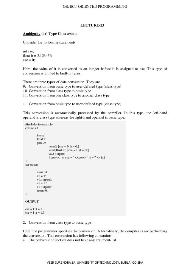 Object Oriented Programming Lecture Notes